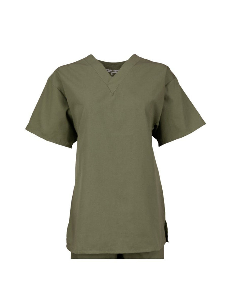 Pocketless Unisex V-Neck Scrub Top | Olive - Scrub Pro Uniforms