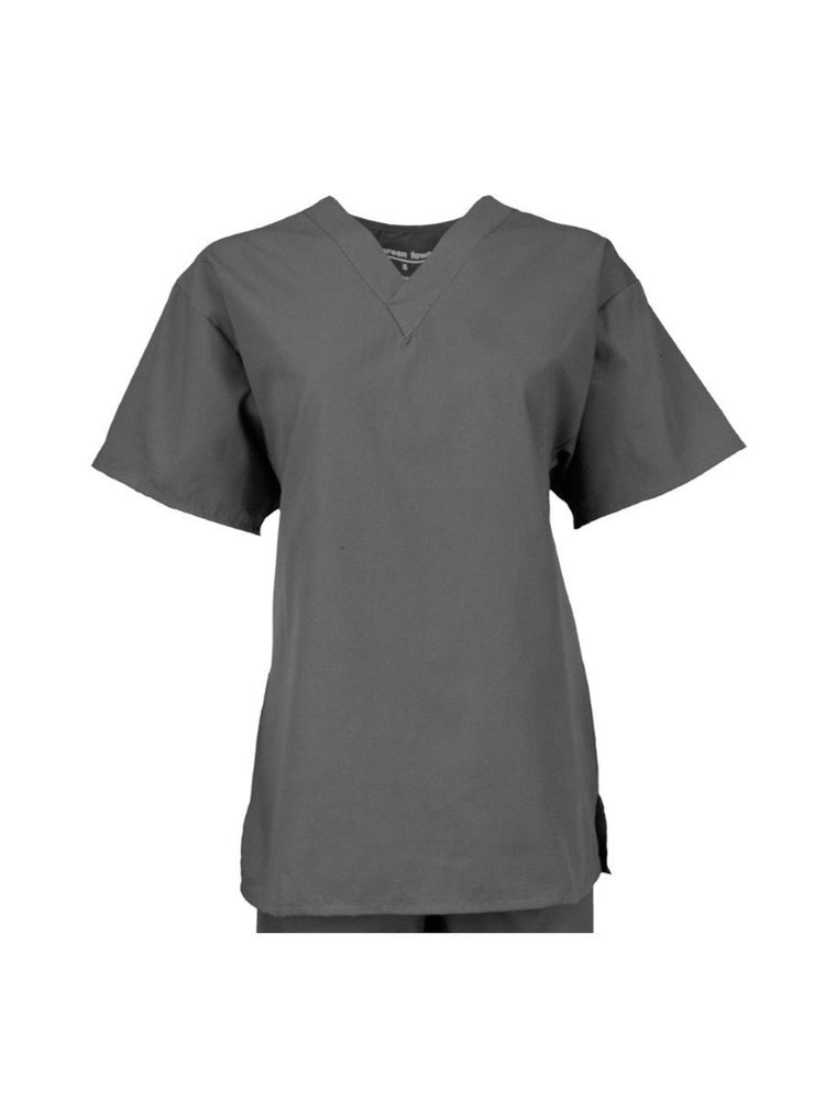 Pocketless Unisex V-Neck Scrub Top | Pewter - Scrub Pro Uniforms