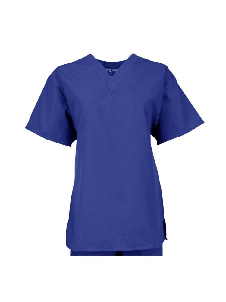 Pocketless Unisex V-Neck Scrub Top | Royal - Scrub Pro Uniforms