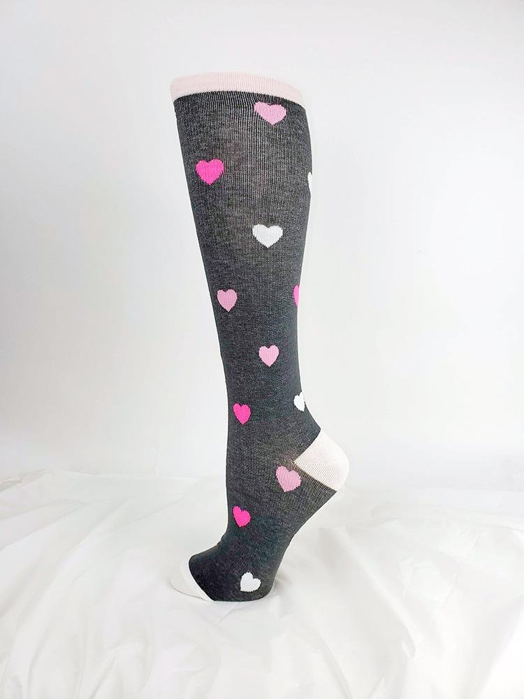 Pro-Motion Women's Compression Socks | Grey Hearts - Scrub Pro Uniforms