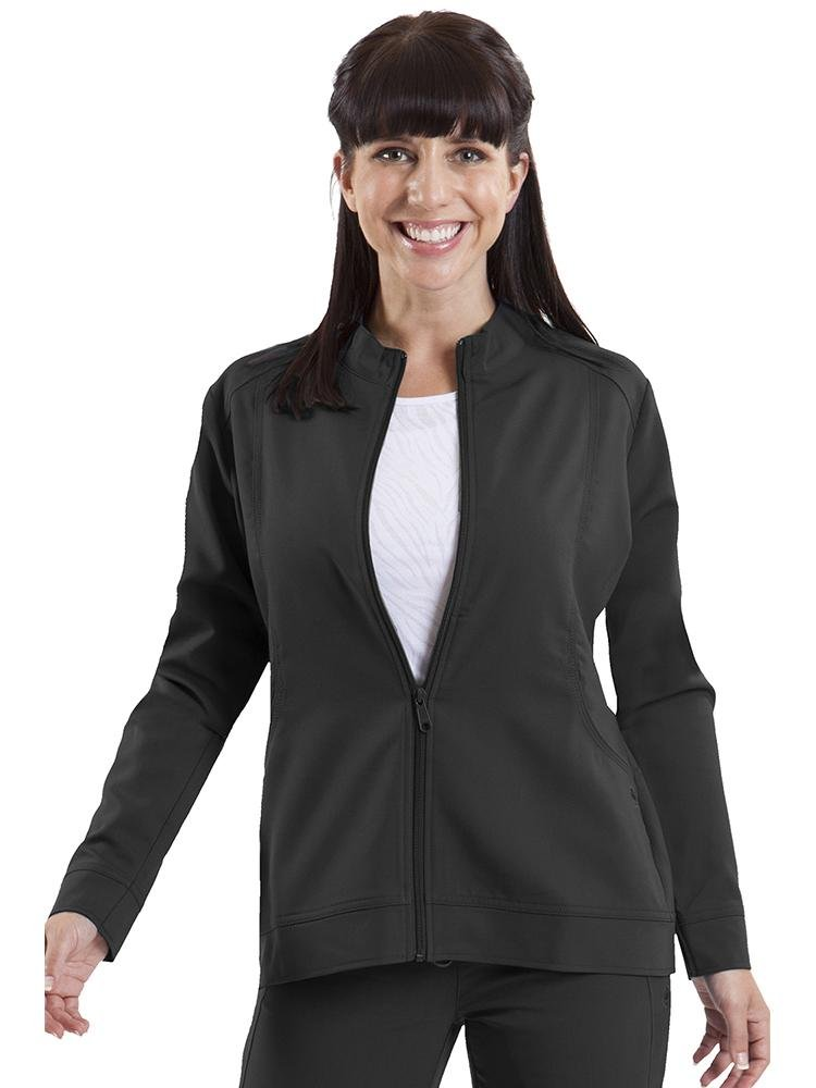 Purple Label Women's Dakota Zip Up Scrub Jacket | Black - Scrub Pro Uniforms