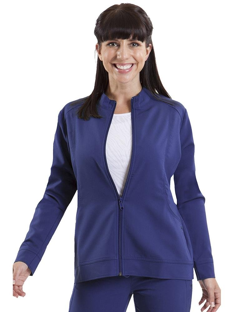 Purple Label Women's Dakota Zip Up Scrub Jacket | Navy - Scrub Pro Uniforms