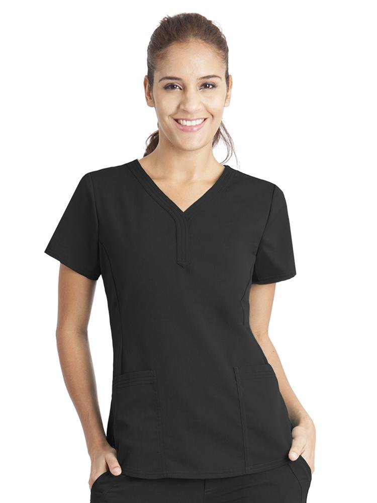 Purple Label Women's Jane V-Neck Scrub Top | Black - Scrub Pro Uniforms
