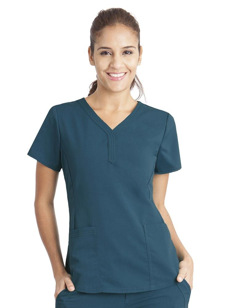 Purple Label Women's Jane V-Neck Scrub Top | Caribbean - Scrub Pro Uniforms