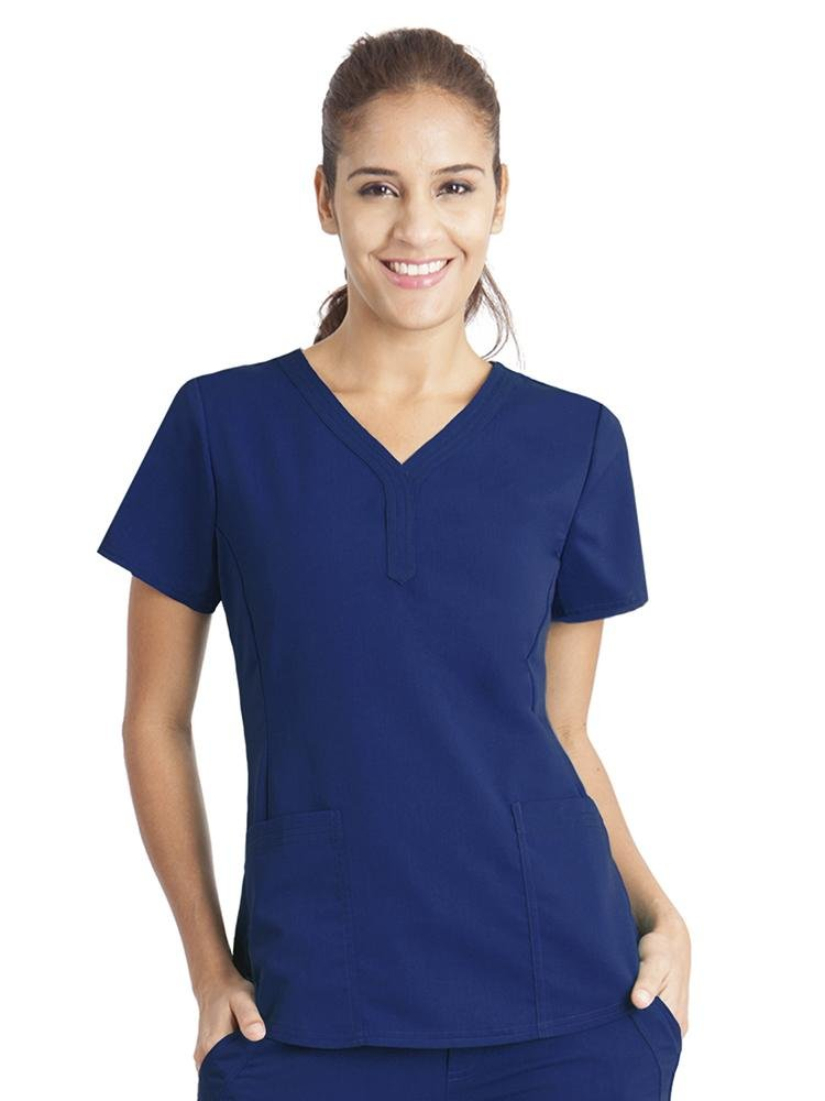 Purple Label Women's Jane V-Neck Scrub Top | Navy - Scrub Pro Uniforms