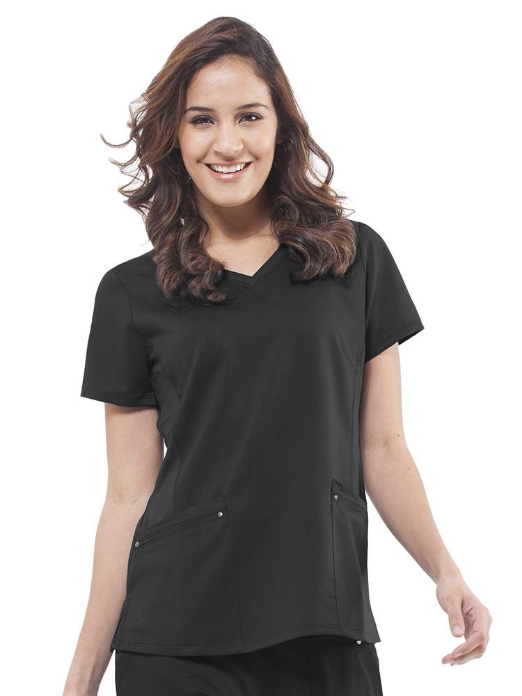 Purple Label Women's Juliet Yoga Scrub Top | Black - Scrub Pro Uniforms