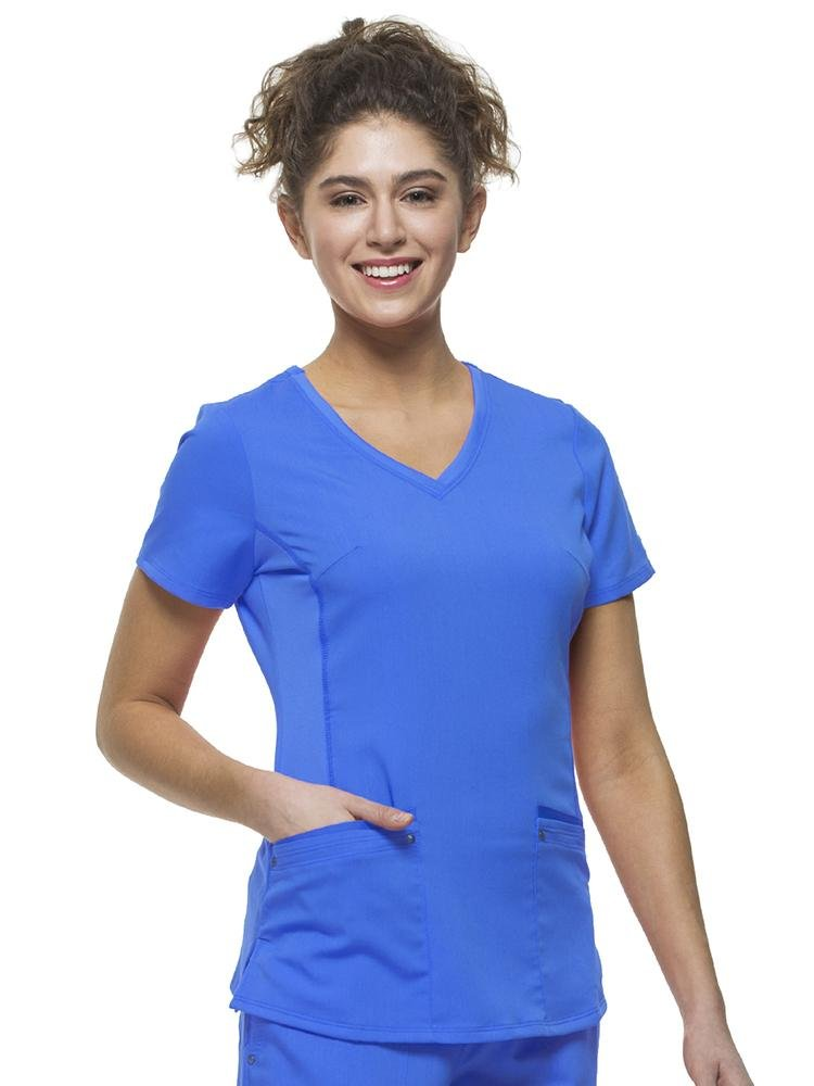 Purple Label Women's Juliet Yoga Scrub Top | Galaxy Blue - Scrub Pro Uniforms