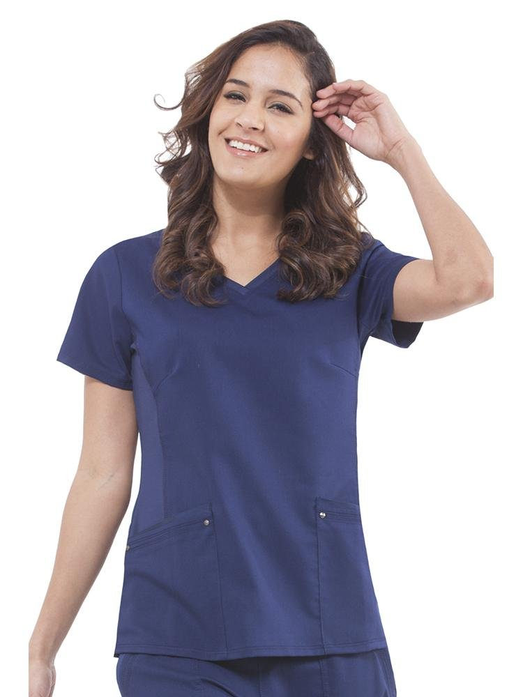 Purple Label Women's Juliet Yoga Scrub Top | Navy - Scrub Pro Uniforms