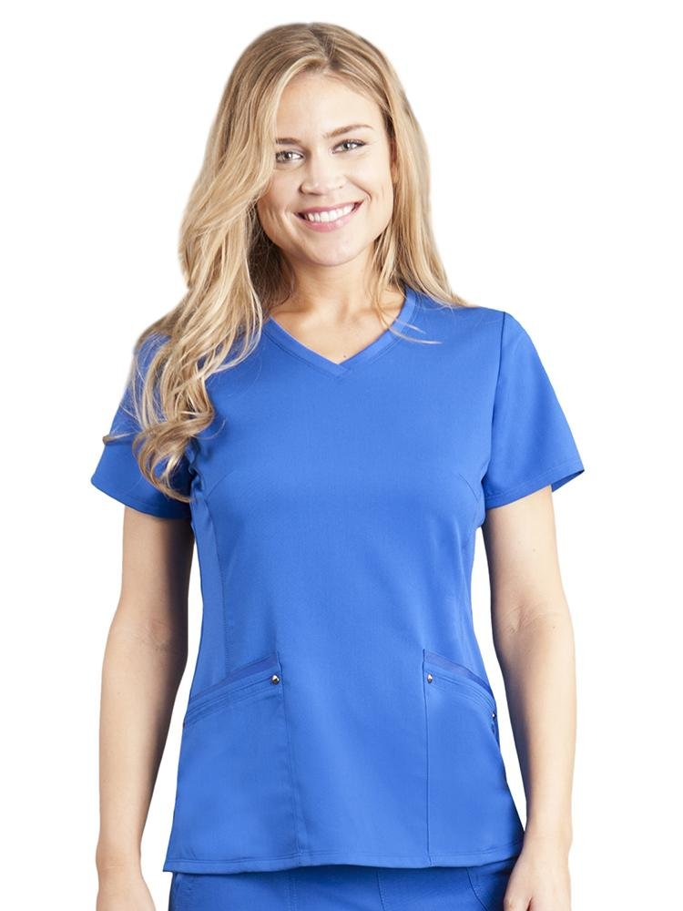 Purple Label Women's Juliet Yoga Scrub Top | Royal - Scrub Pro Uniforms
