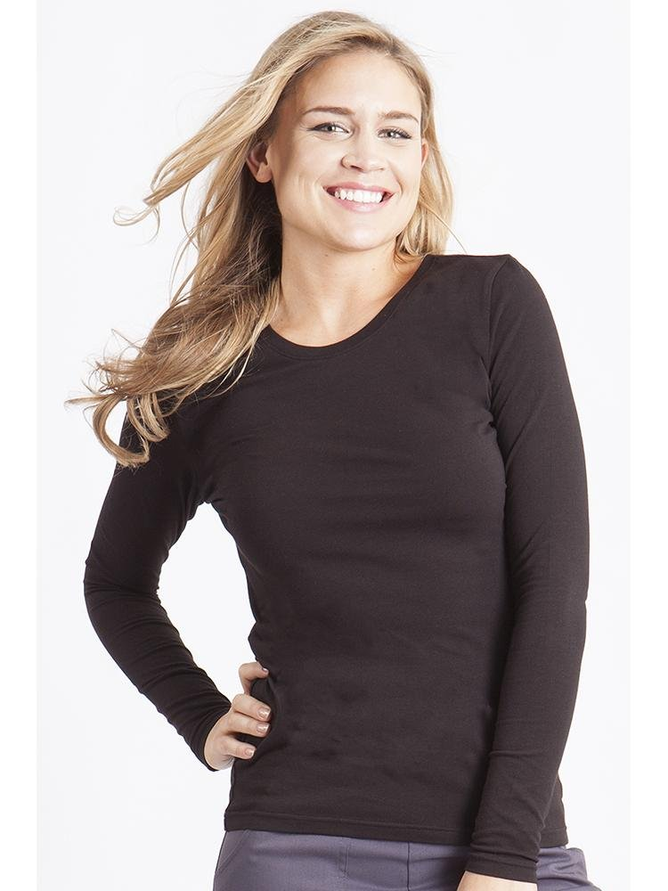Purple Label Women's Melissa Long Sleeve T-Shirt | Black - Scrub Pro Uniforms