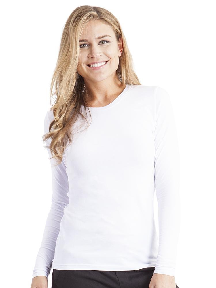 Purple Label Women's Melissa Long Sleeve T-Shirt | White - Scrub Pro Uniforms