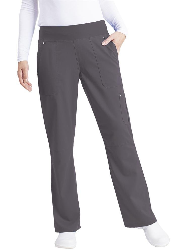 Purple Label Women's Tori Yoga Waistband Scrub Pant | Pewter - Scrub Pro Uniforms