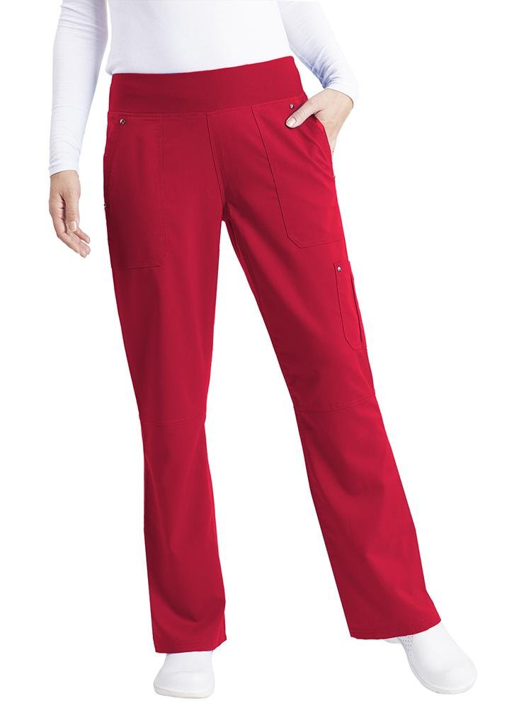 Purple Label Women's Tori Yoga Waistband Scrub Pant | Red - Scrub Pro Uniforms