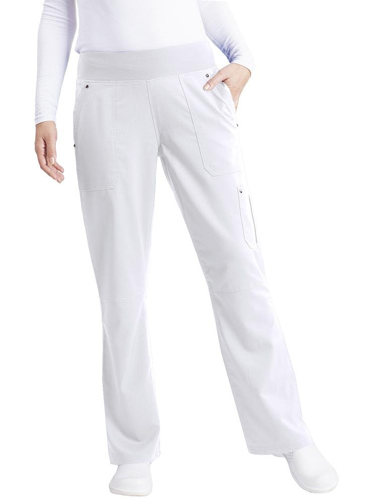 Purple Label Women's Tori Yoga Waistband Scrub Pant | White - Scrub Pro Uniforms