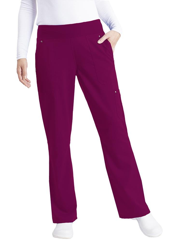 Purple Label Women's Tori Yoga Waistband Scrub Pant | Wine - Scrub Pro Uniforms