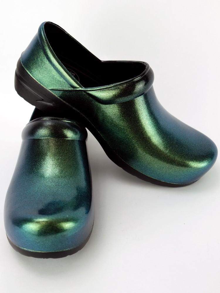 STEPZ Women's Slip Resistant Nurse Clogs | Green Iridescent - Scrub Pro Uniforms