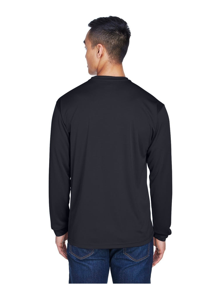 UltraClub Men's Cool & Dry Long-Sleeve T-Shirt | Black - Scrub Pro Uniforms