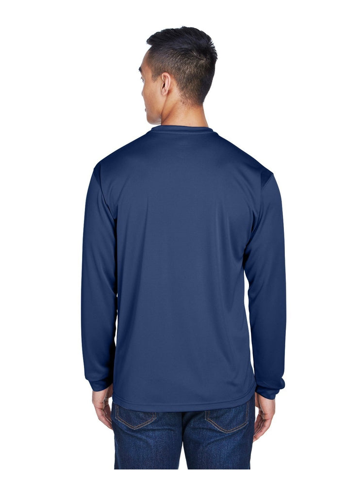 UltraClub Men's Cool & Dry Long-Sleeve T-Shirt | Navy - Scrub Pro Uniforms
