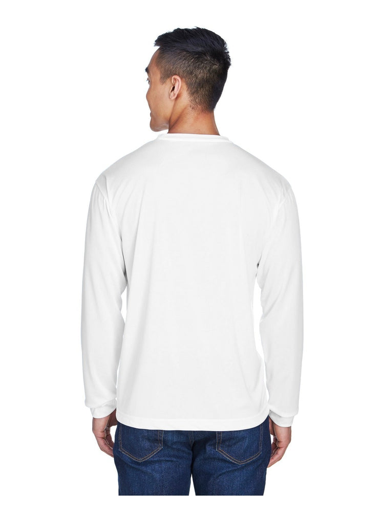 UltraClub Men's Cool & Dry Long-Sleeve T-Shirt | White - Scrub Pro Uniforms