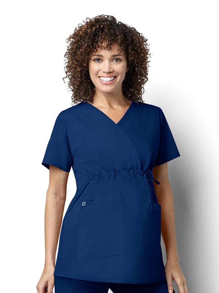WonderWink Women's Maternity Mock Wrap Scrub Top | Navy - Scrub Pro Uniforms