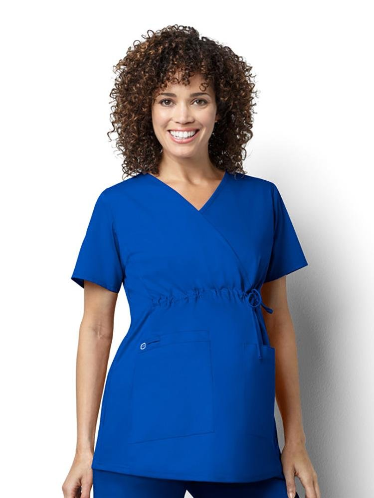 WonderWink Women's Maternity Mock Wrap Scrub Top | Royal - Scrub Pro Uniforms