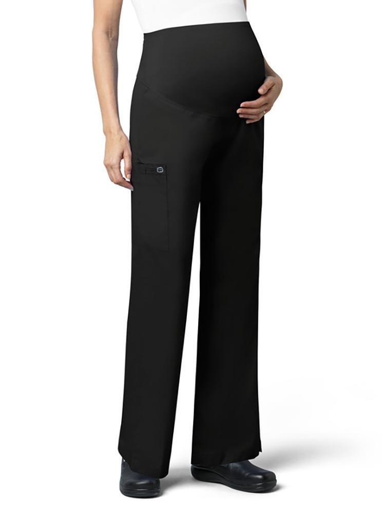 WonderWink Women's Maternity Scrub Pant | Cargo | Black - Scrub Pro Uniforms