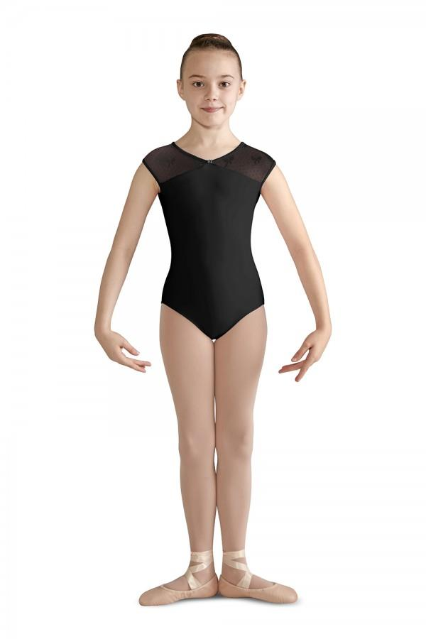 Bloch Emmy Keyhole Bow Mesh Cap Sleeve Bodysuit Child CL9572