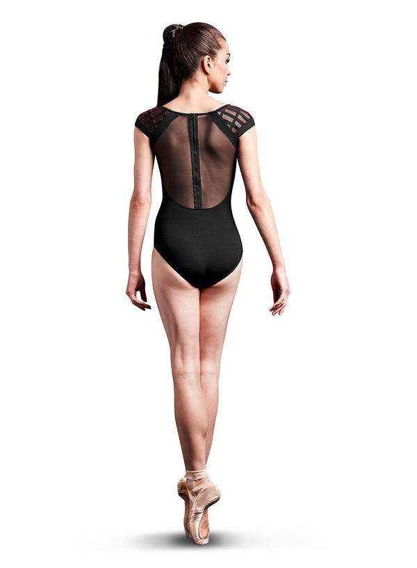Bloch Mirella Laser Cut Cage Yoke Cap Sleeve Bodysuit Adult MJ7207
