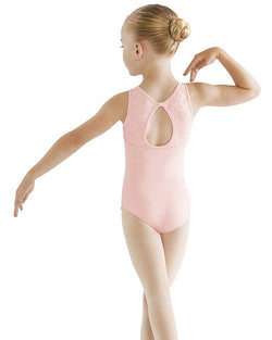 Bloch Embroidered Keyhole Bow Back Tank Bodysuit Child CL9535