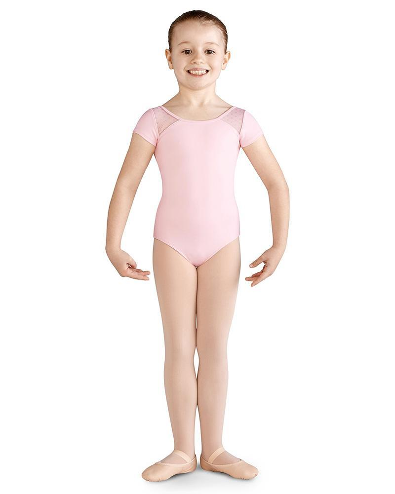 Bloch Celia Daisy Mesh Bow Back Cap Sleeve Bodysuit Child CL9972