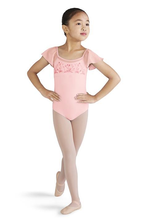 Bloch Embroidered Mesh Flutter Sleeve Bodysuit Child M1507C