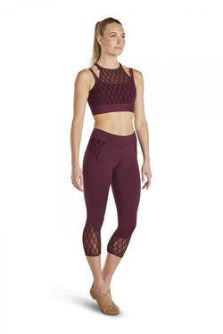Bloch Diamond Flock Mesh Crop Top Adult FT5040
