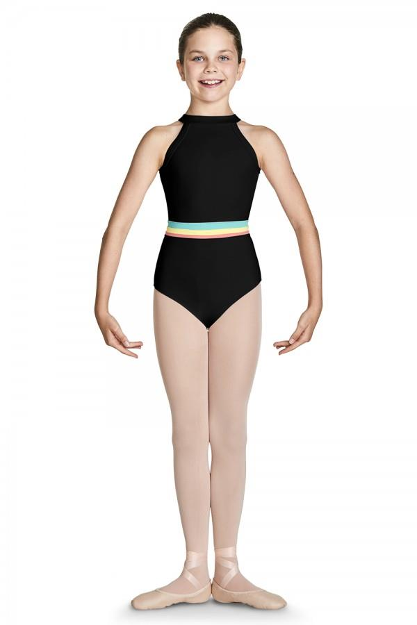 Bloch Gelato Stripe High Neck Halter Bodysuit Child CL7845