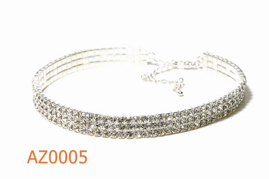 FH2 Stretchy 3-Row Rhinestone Choker Adult AZ0005