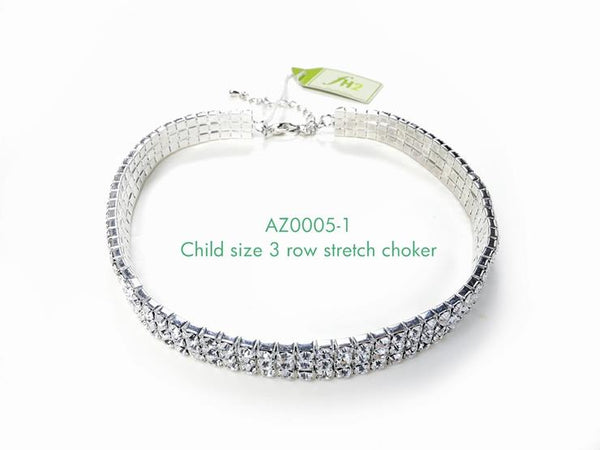 FH2 Stretchy 3-Row Rhinestone Choker Child AZ0005-1