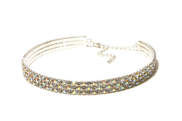FH2 Stretchy 3-Row AB Rhinestone Choker Adult AZ0026