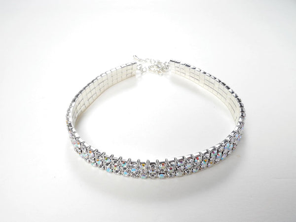 FH2 Stretchy 3-Row AB Rhinestone Choker Child AZ0026-1
