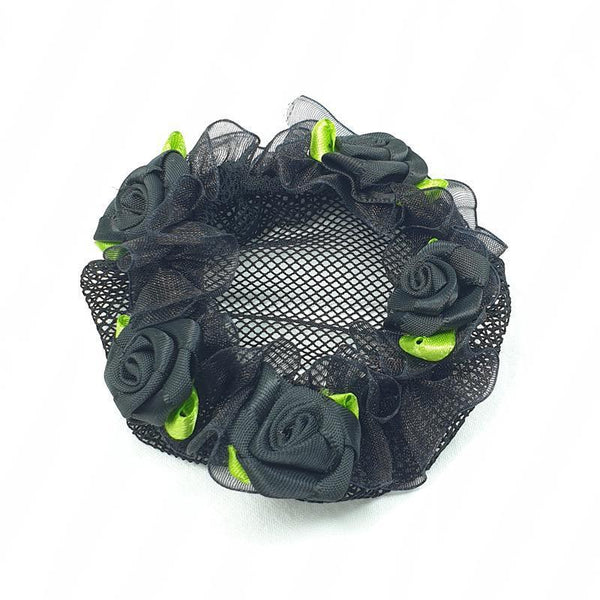 FH2 Floral Applique Black Mesh Bun Cover BC0043