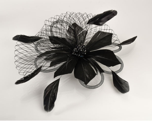 FH2 Black Feather Hair Corsage FC0501
