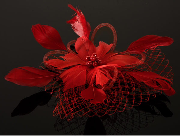 FH2 Red Feather Hair Corsage FC0502