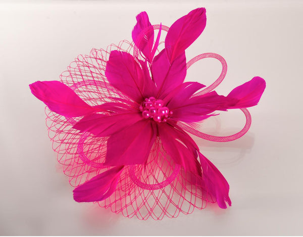 FH2 Hot Pink Feather Hair Corsage FC0503