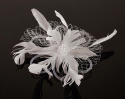 FH2 White Feather Hair Corsage FC0504