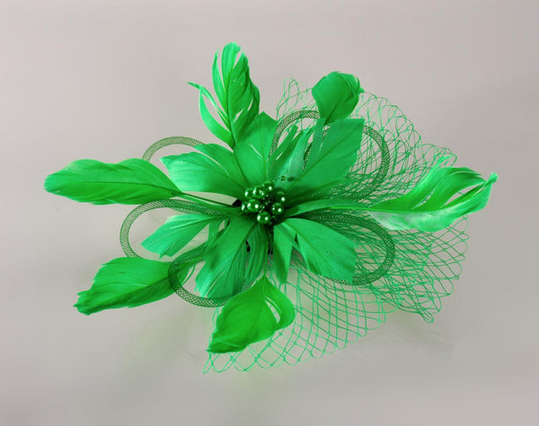 FH2 Green Feather Hair Corsage FC0505