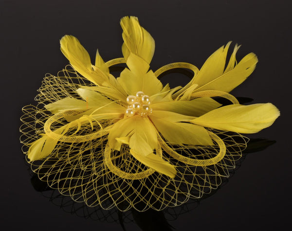 FH2 Yellow Feather Hair Corsage FC0506