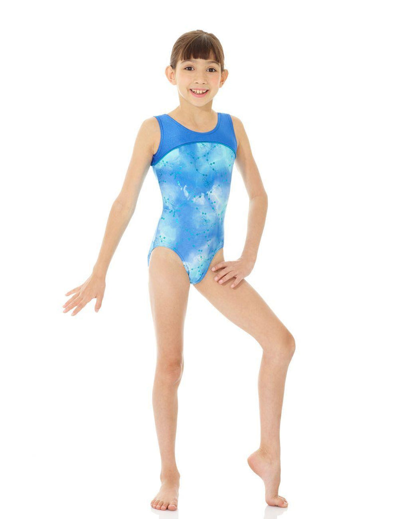 Mondor Blue Tie-Dye Print/Solid Gymnastics Leotard Child 17835