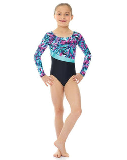 Mondor Print/Solid Long-Sleeve Gymnastics Leotard Child 27859