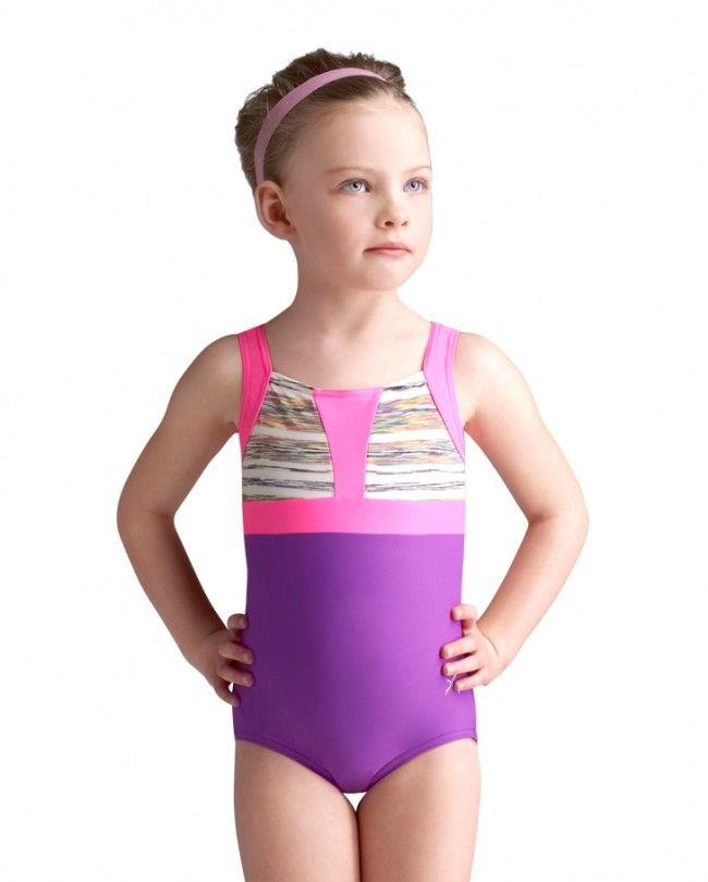 Capezio Meteor Shower Print/Solid Gymnastics Leotard Child 10694C