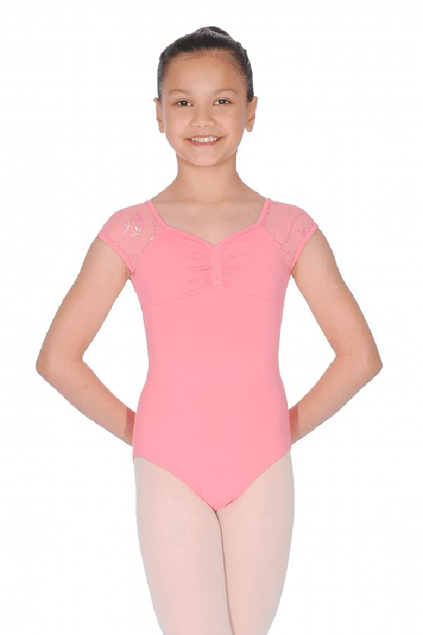 Bloch Mirella Gathered Front Glitter Mesh Cap Sleeve Bodysuit Child M1515C