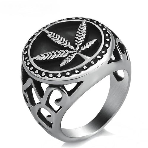 Mens Stainless Steel Ring Cannabis Leaf Size 8-13
