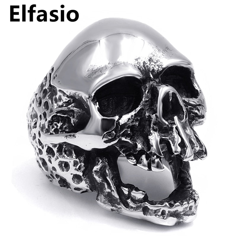 Mens Stainless Steel Ring Silver Skull Size 7-13
